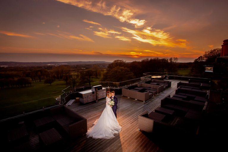 Haigh-hall-wigan-bride-groom-sunset-stanbury-wedding-photography