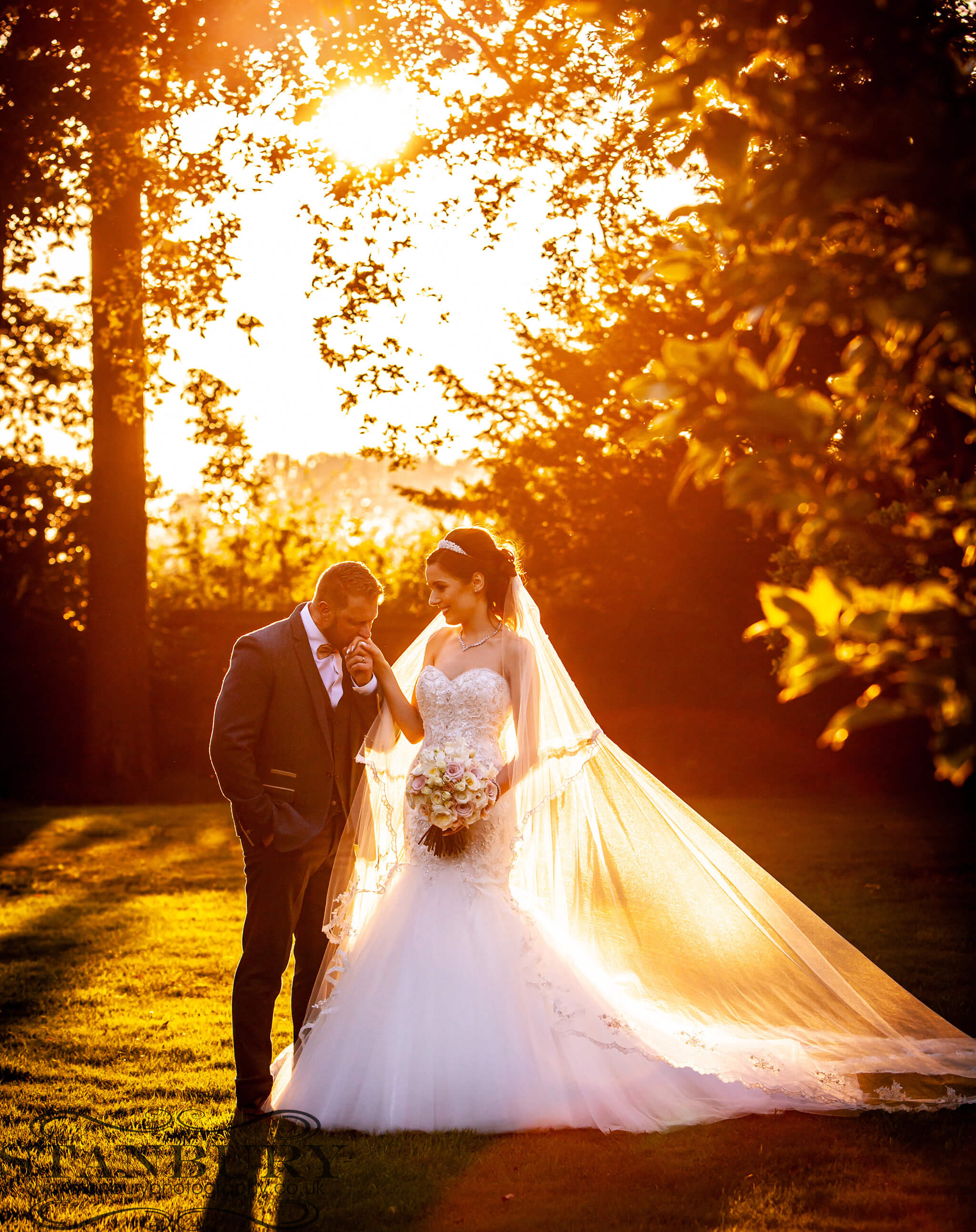 sunset-bride-groom-colshaw-hall-wedding-cheshire-photographers-stanbury